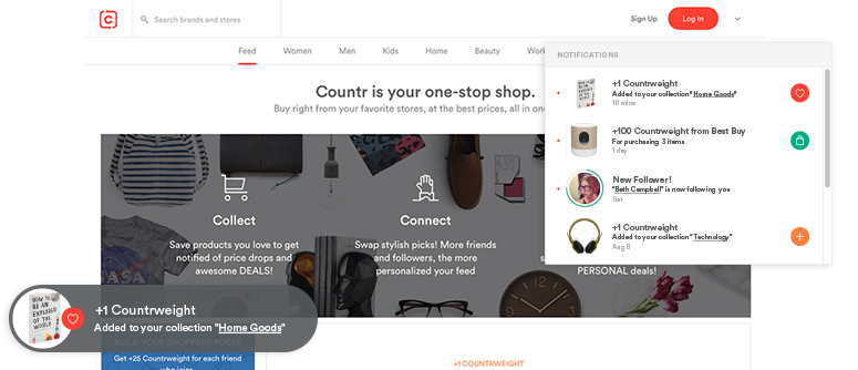 Countr product feed, cart, and growl notification
