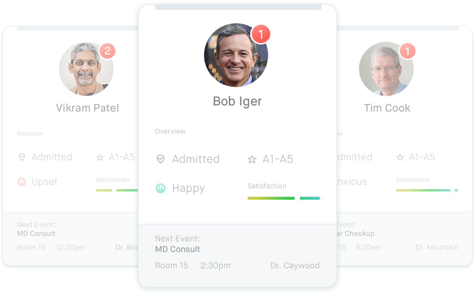 patient cards within the Docent interface