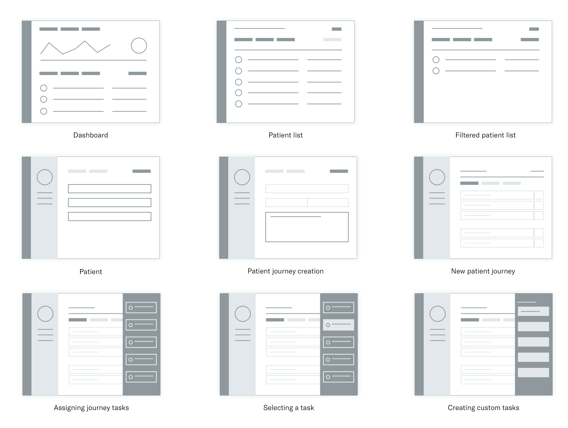 wireframes of Docent journey creation
