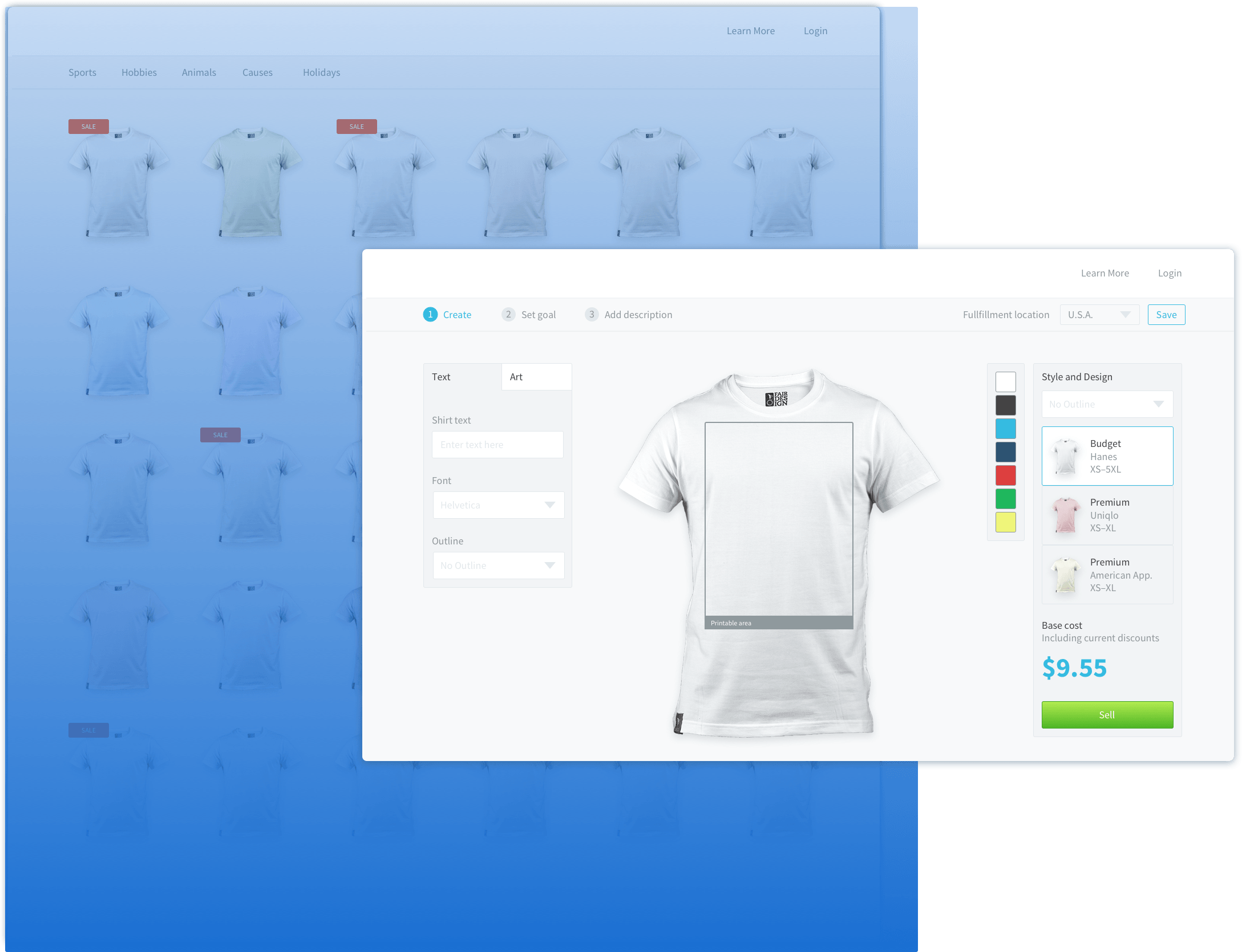 a wireframe of a t-shirt creation prototype
