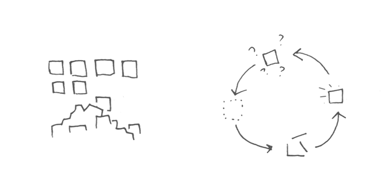 Hand sketch using squares to illustrate building your product