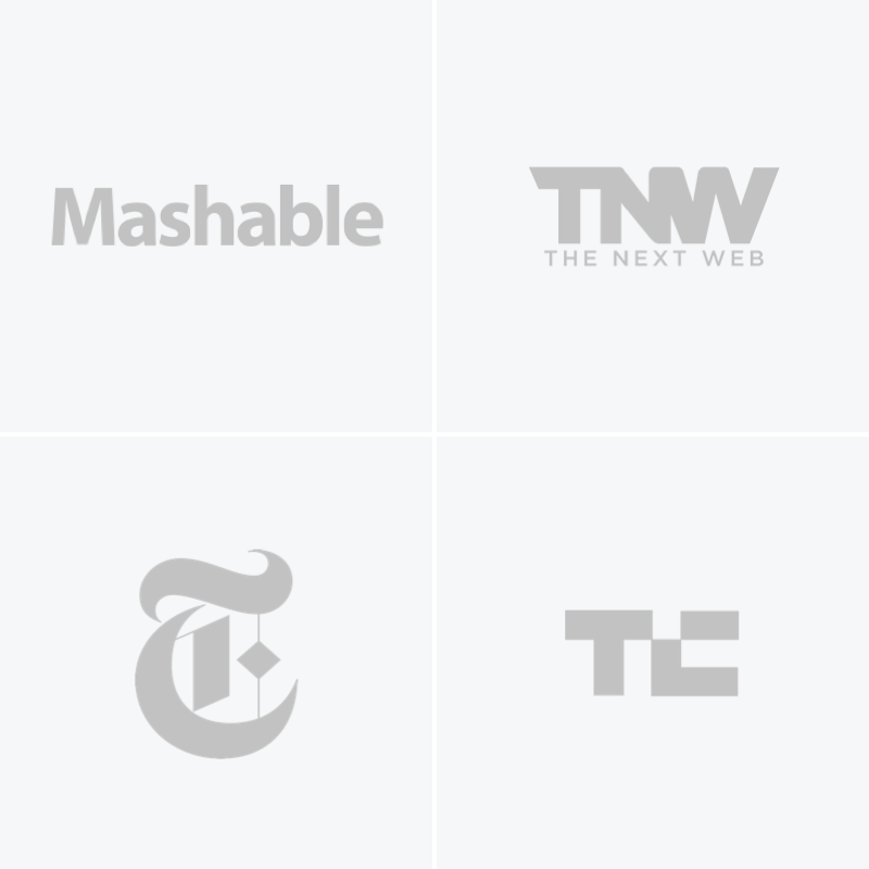 Logos for the New York Times, The Wall Street Journal, The Next Web, and TechCrunch