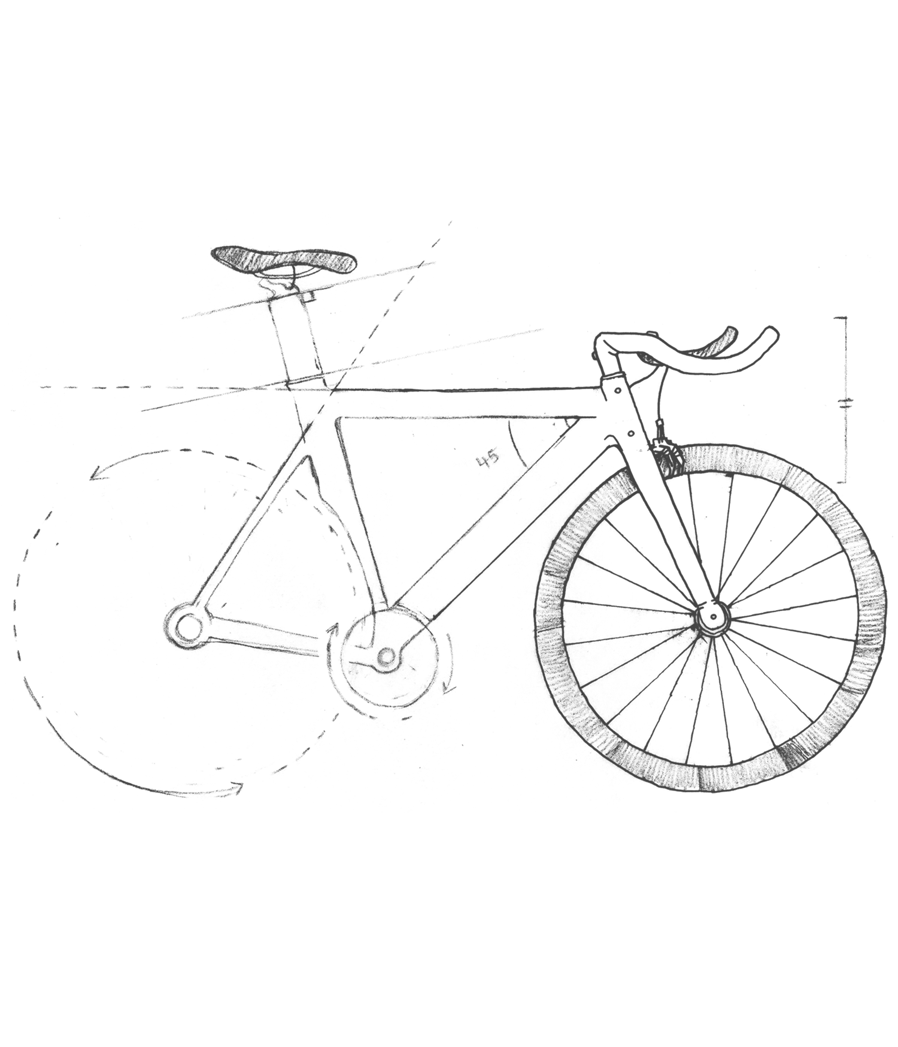 A blueprint sketch of a bicycle